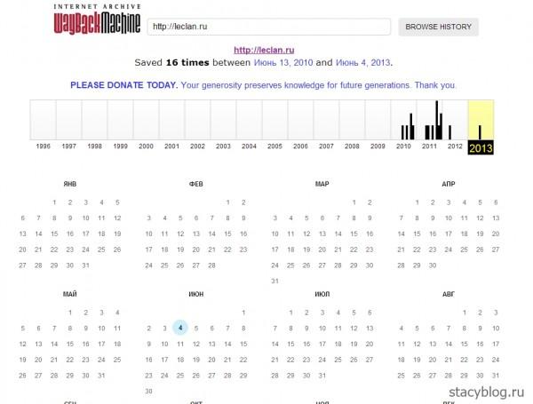 Прошлое сайта