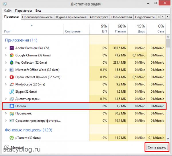 windows 8 закрыть приложение