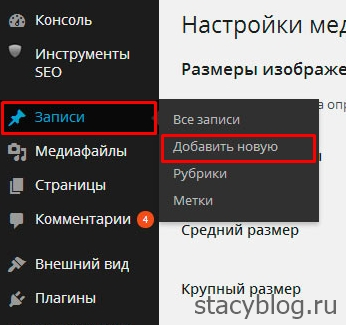 Wordpress запись